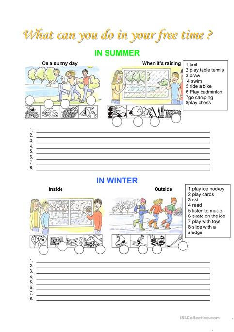 Leisure What Can You Do In Your Free Time Worksheet Free Esl