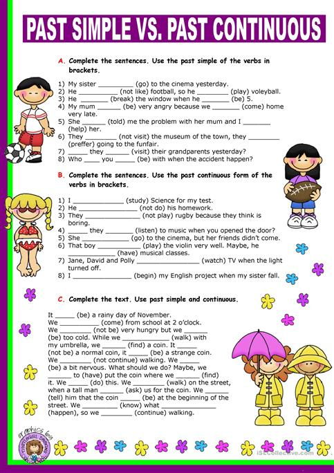 Past Simple Vs Past Continuous Worksheet Free Esl Printable