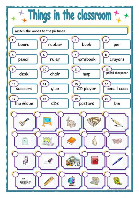 Worksheet things in the classroom