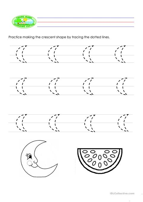 Crescent Shape Worksheets For Preschoolers Gallery worksheet for