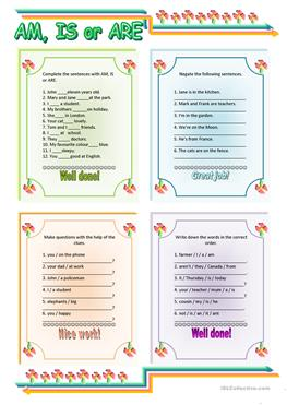 35 free esl am is are to be worksheets