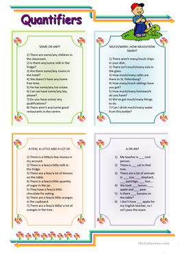 English ESL Quantifiers (e.g. some, many, much, any, few ...