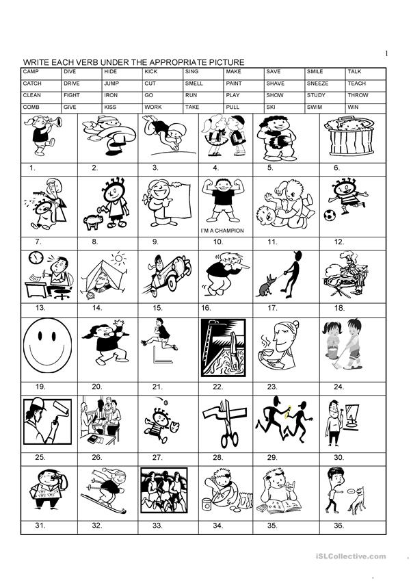 English verbs pictures