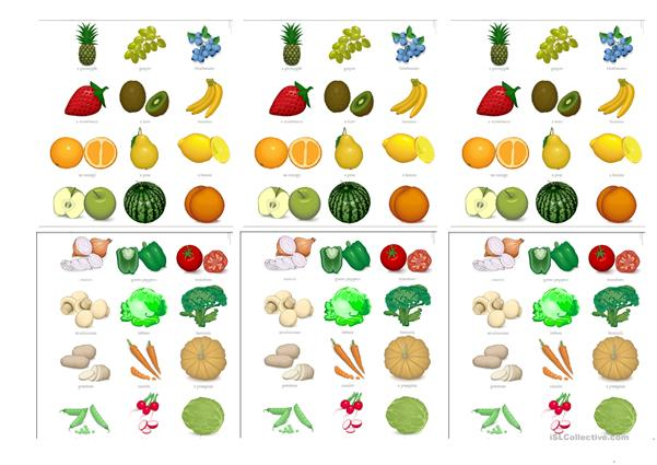 Fruit and Veg card game