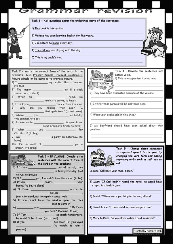 Grammar revision 4 *** 5 tasks *** for intermediate, upper-intermediate level *** 30 minute-test *** with key *** B&W version