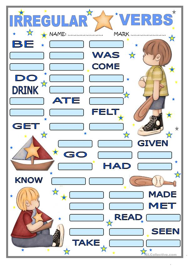 Irregular verbs for boys