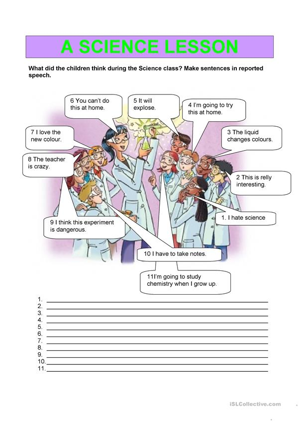 Reported speech - A science lesson