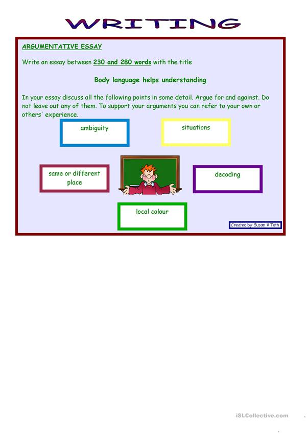 Role play and writing - Body language *** advanced