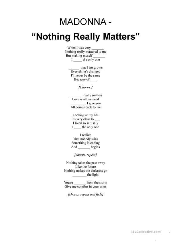 SONG:Madonna - Nothing really matters