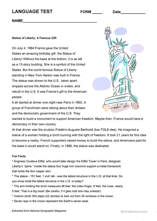Statue of Liberty Complete Language Test
