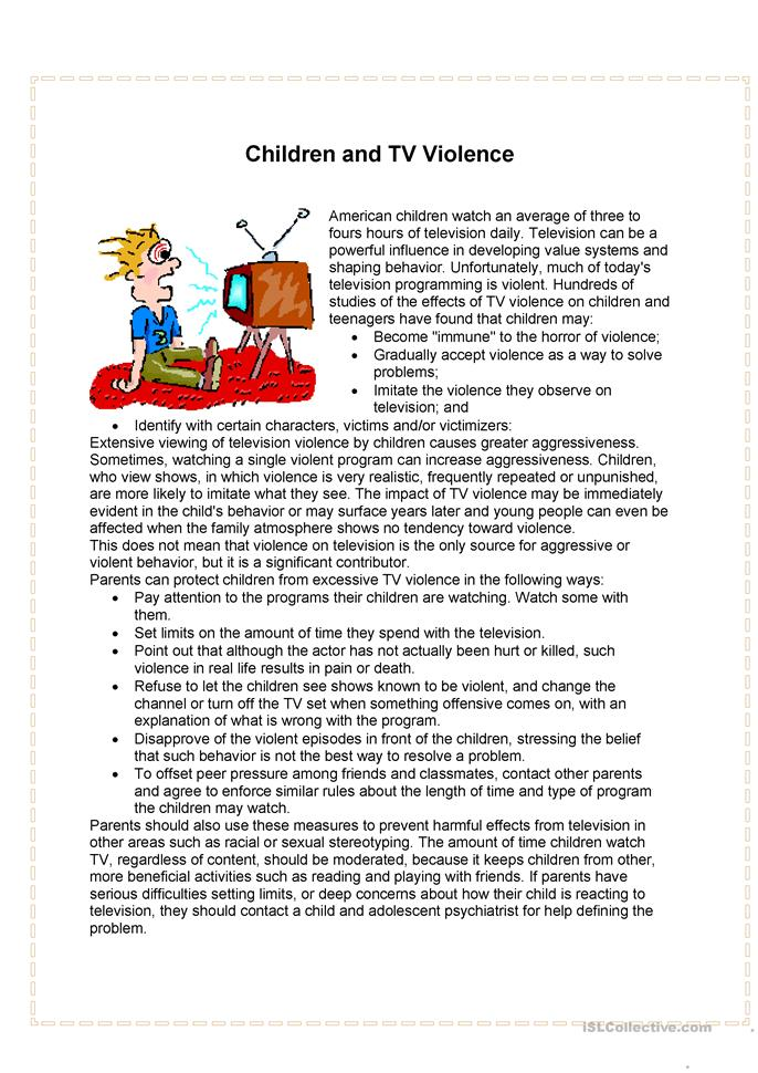 the role and influence of the television in the violent behaviors of children
