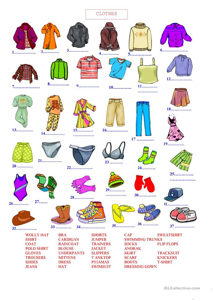 782 FREE ESL Clothes, fashion worksheets