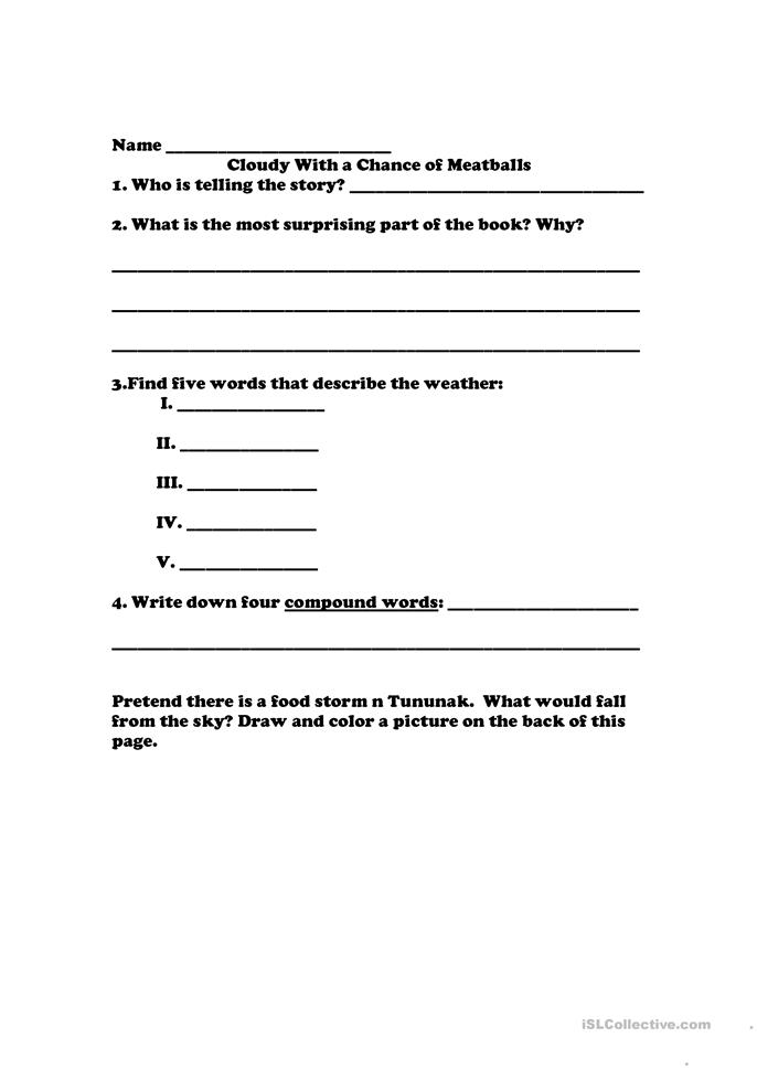 Cloudy With A Chance of Meatballs worksheet - Free ESL printable ...