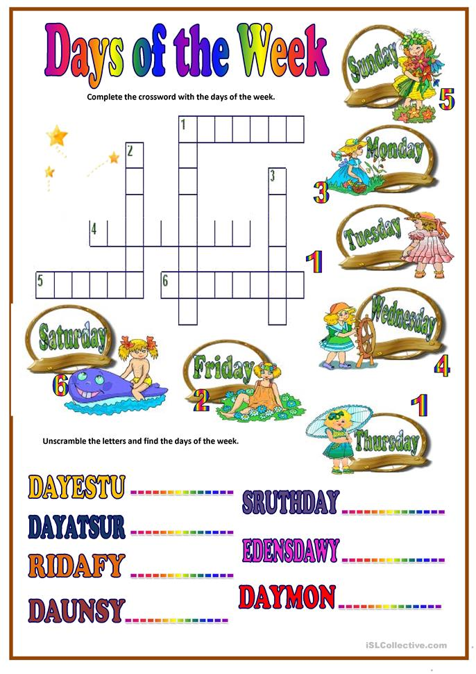 math worksheet : 8 free esl days of week worksheets : Days Of The Week Worksheets Kindergarten