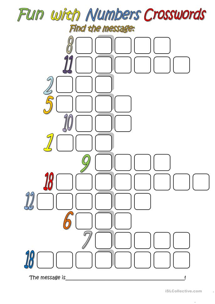 Fun with Numbers (Crossword) - ESL worksheets