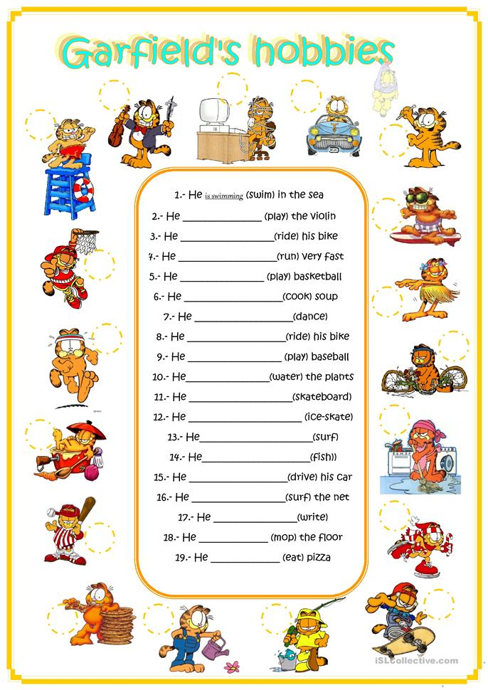garfield's hobbies - ESL worksheets