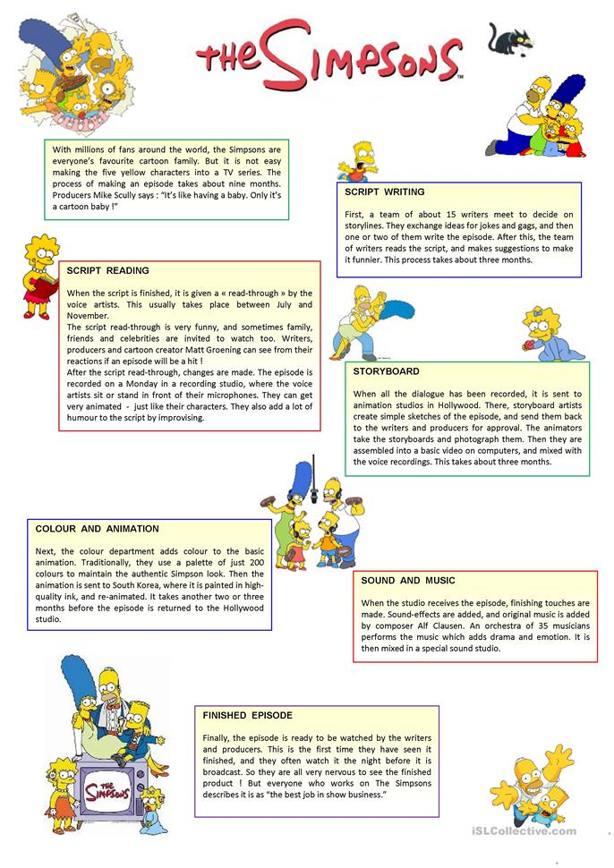 Have fun with the Simpsons ! - ESL worksheets