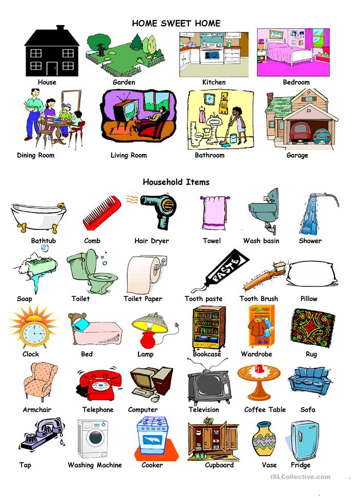 House And Household Items Worksheet Free ESL Printable