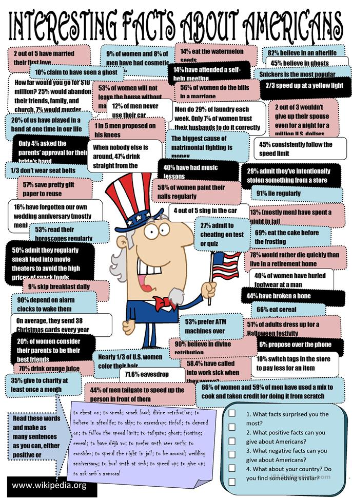 Interesting facts about Americans - ESL worksheets