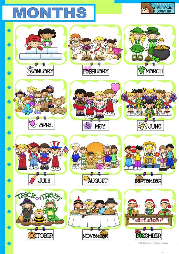 Number Names Worksheets months of the year activities for kindergarten : Months Of The Year Worksheets For Kindergarten - spelling days of ...