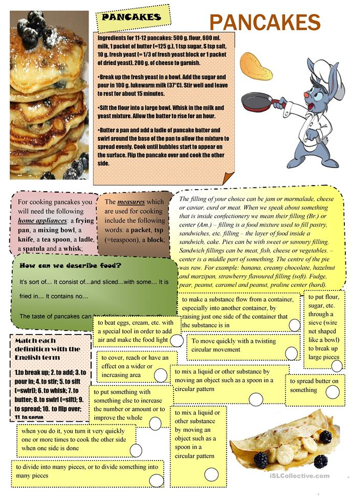 Worksheet Parts Of A Recipe : Free esl pancake worksheets