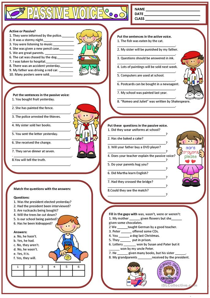 497 FREE ESL Passive voice or active voice worksheets