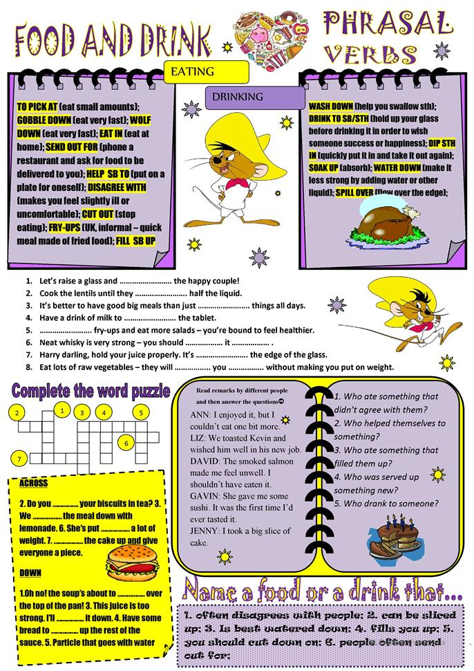 PHRASAL VERBS food - ESL worksheets