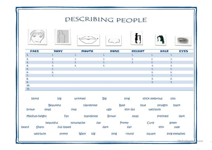 physical appearance vocabulary - ESL worksheets