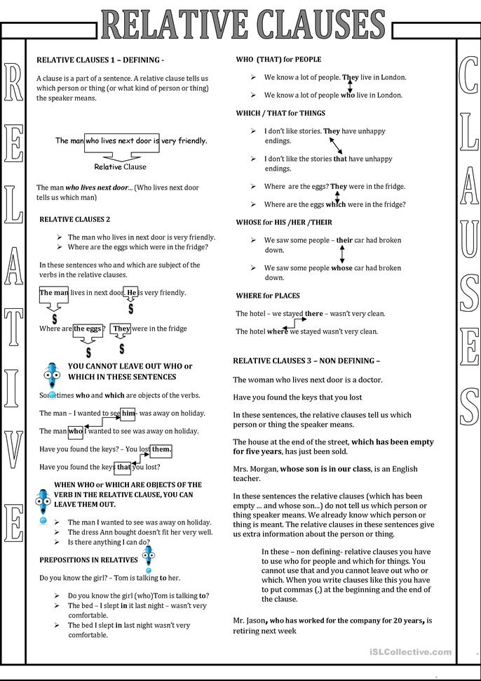 relative pronouns black and white - ESL worksheets