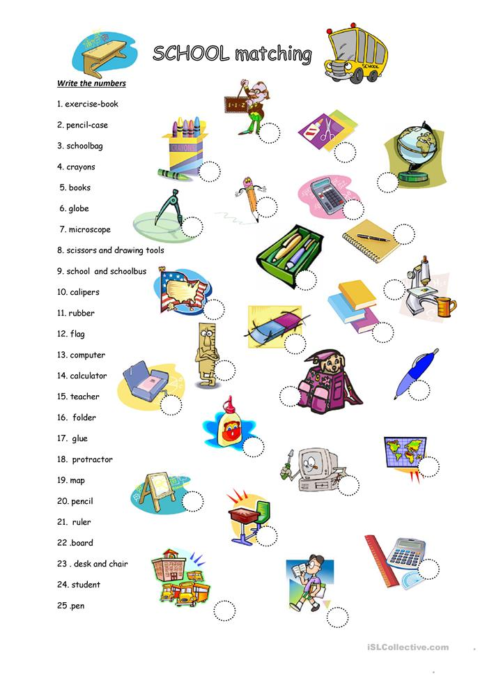 SCHOOL MATCHING - ESL worksheets