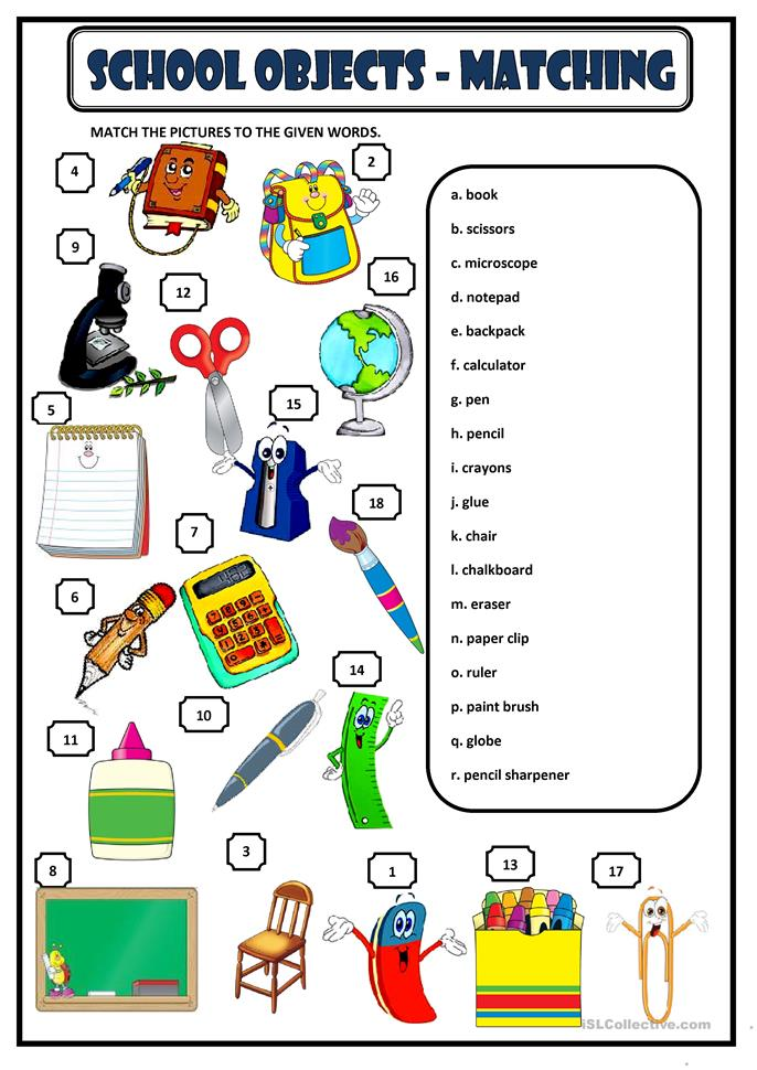 SCHOOL OBJECTS - MATCHING - ESL worksheets
