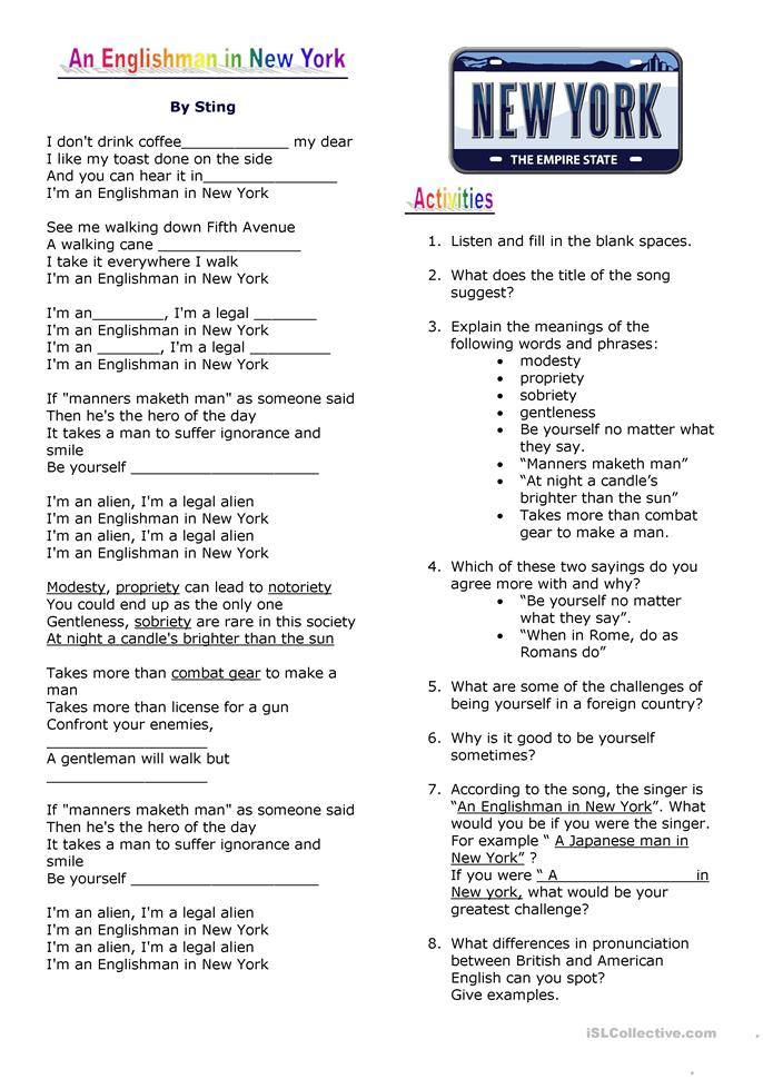 Song An Englishman in ... - ESL worksheets