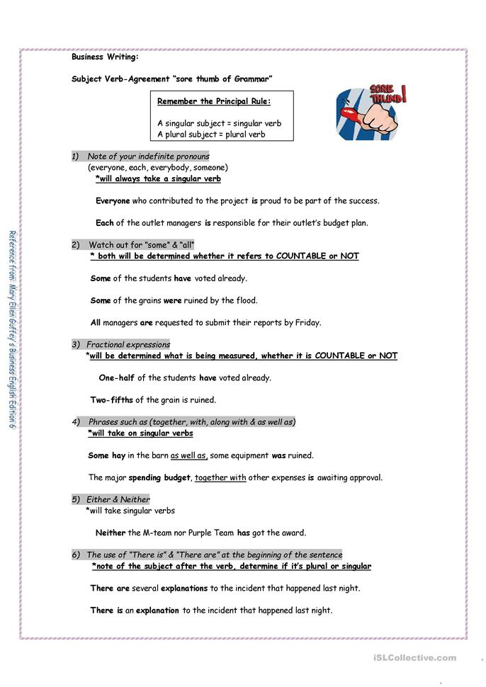 Slobbery image throughout subject verb agreement printable worksheets
