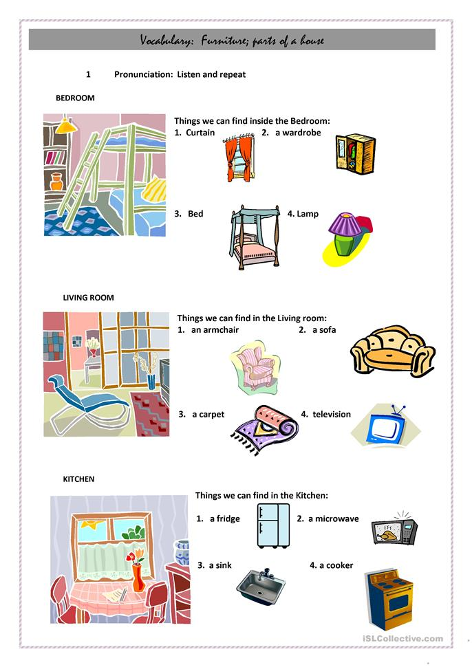 Vocabulary Building Worksheets : Vocabulary building parts of a house worksheet free esl