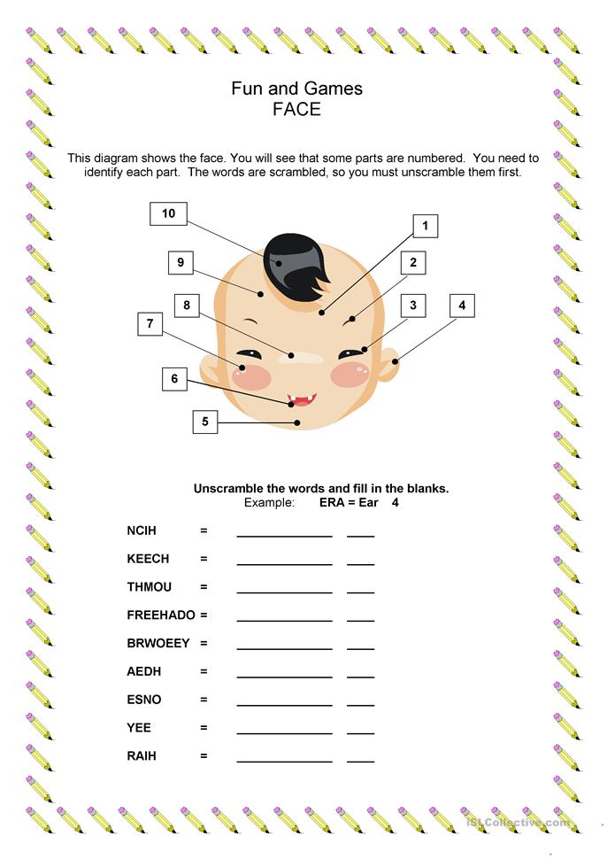 Vocabulary Building: Parts of the Face - ESL worksheets
