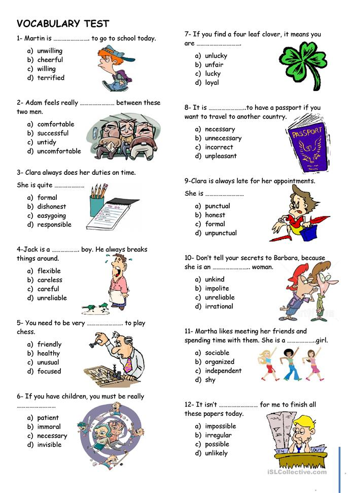 english vocabulary test questions Avoid spelling words incorrectly and practice the spelling of new vocabulary  only use words that you are comfortable with and understand the meaning.