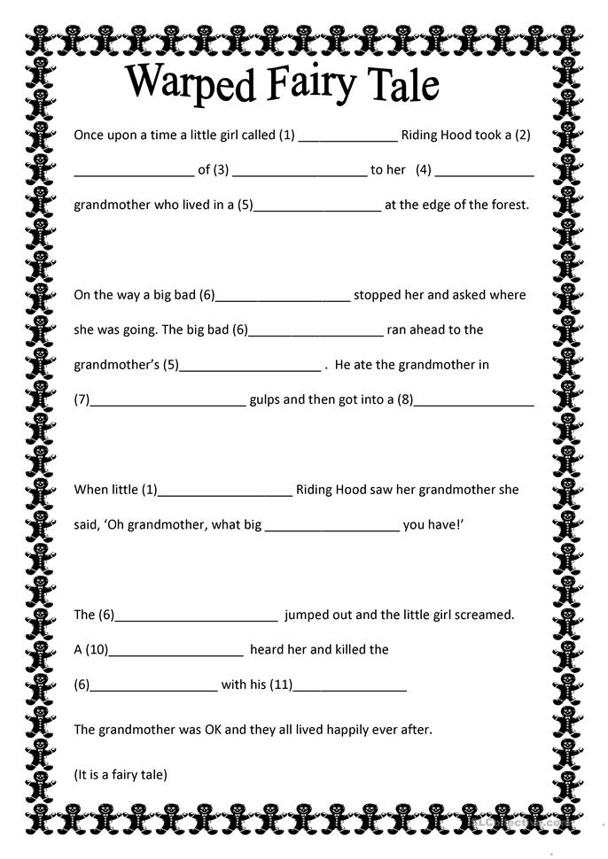 Worksheets Fairy Tale Worksheets warped fairy tale worksheet free esl printable worksheets made by teachers