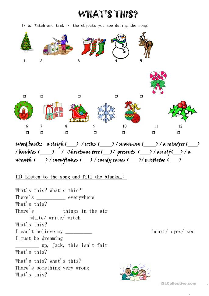 WHAT'S THIS SONG - ESL worksheets