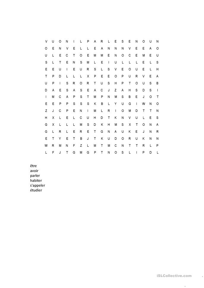 word search french verbs worksheet free esl printable worksheets made by teachers. Black Bedroom Furniture Sets. Home Design Ideas