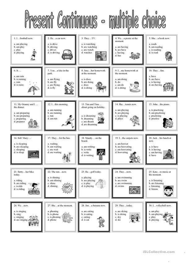 present continuous multiple choice worksheet free esl printable worksheets made by teachers. Black Bedroom Furniture Sets. Home Design Ideas