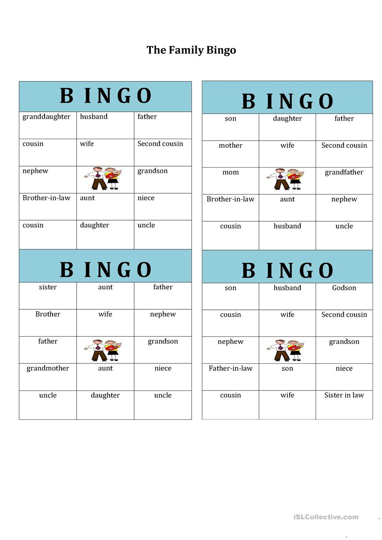 worksheet Bingo Worksheet 347 free esl bingo worksheets family