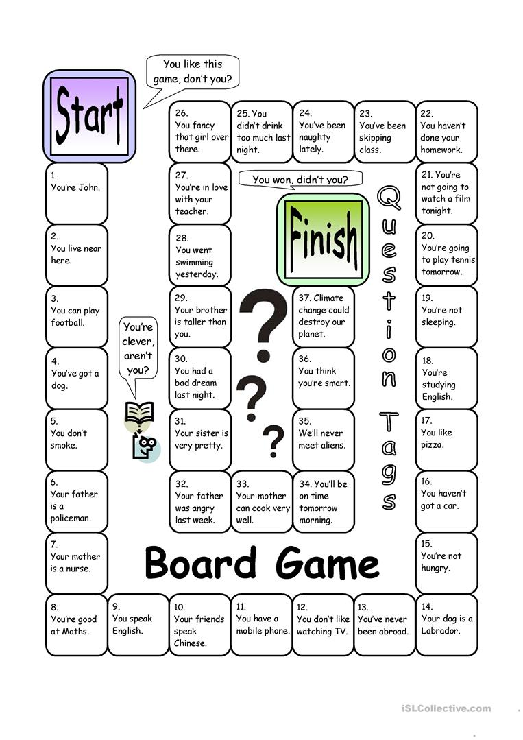 graphic about Esl Games for Adults Printable known as Board Activity - Ponder Tags - English ESL Worksheets