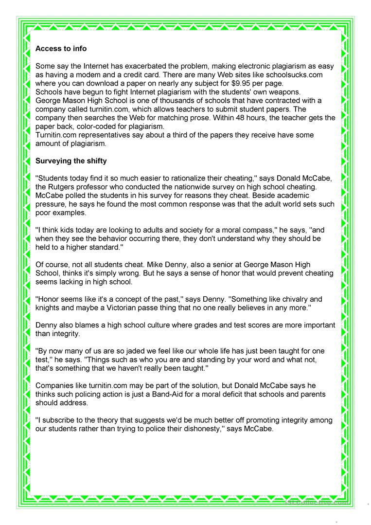 Uncategorized Reading Comprehension Worksheets High School cheating at school worksheet free esl printable worksheets made full screen