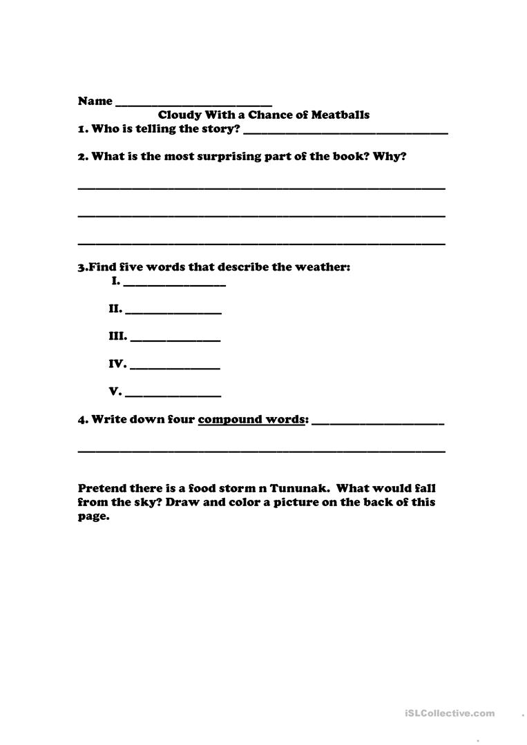 Cloudy With A Chance Of Meatballs English Esl Worksheets For Distance Learning And Physical Classrooms