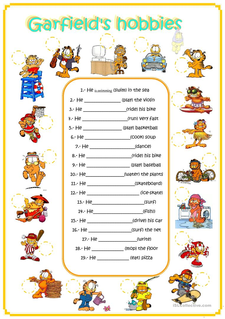 garfield's hobbies - English ESL Worksheets
