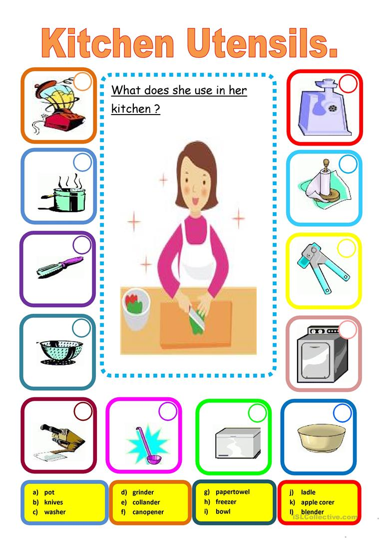 KITCHEN UTENSILS - English ESL Worksheets