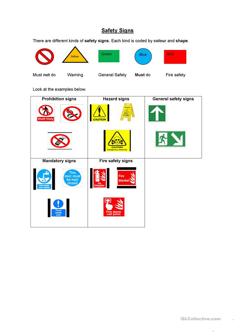safety signs worksheet free esl printable worksheets made by teachers. Black Bedroom Furniture Sets. Home Design Ideas