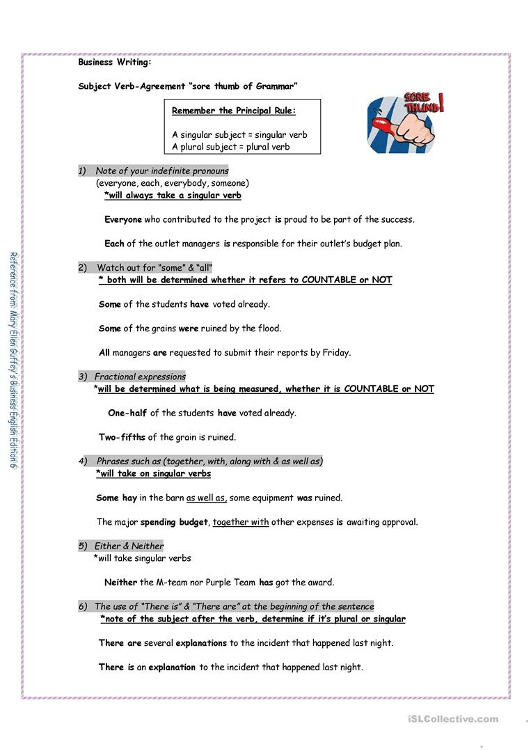 Subject Verb Agreement Worksheet Free Esl Printable Worksheets
