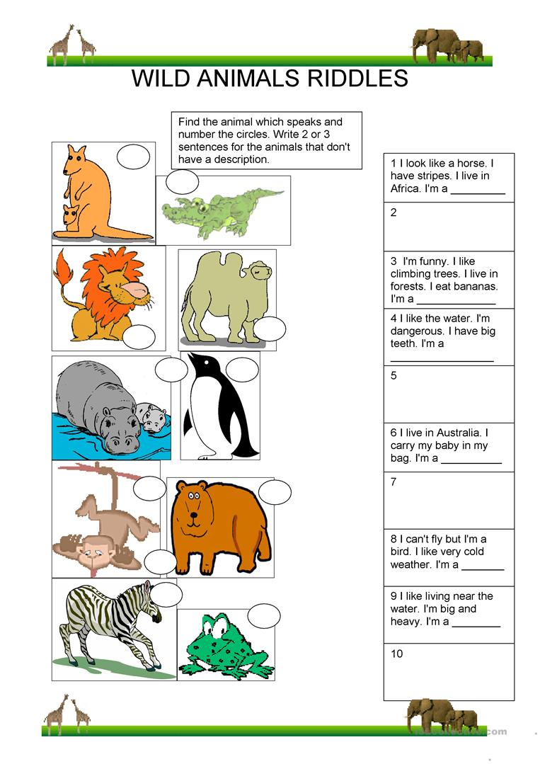 Souvent 13 FREE ESL Animal riddles worksheets NH97