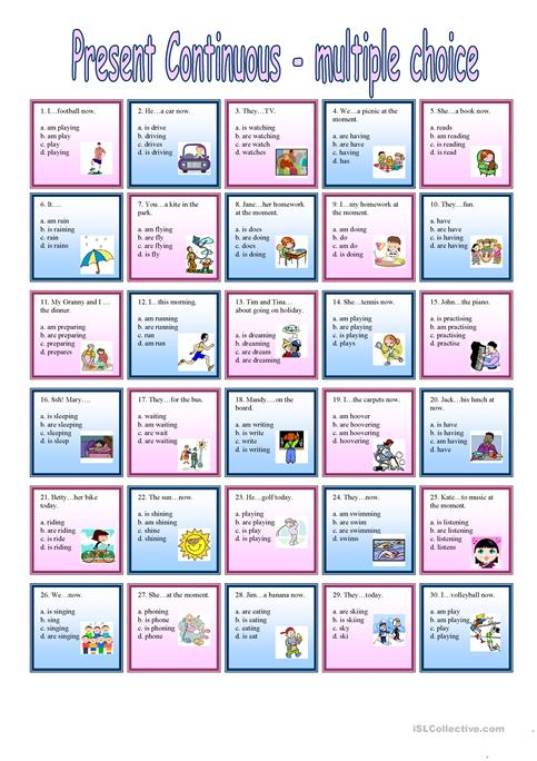 Present Continuous Multiple Choice Worksheet Free Esl Printable